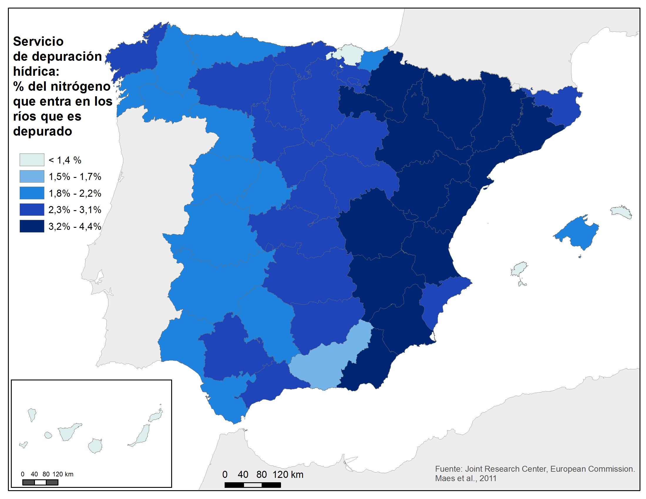 Mapa del servicio de depuración hídrica (%N que entra en los ríos ...